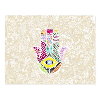 Künstlerische Hand gezeichnete Hamsa Hand Postkarte