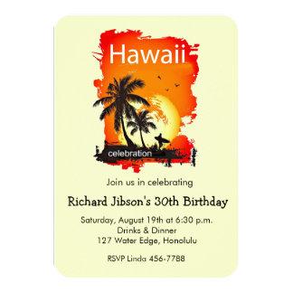 Künstlerische Hawaii-Strand-Sonnenuntergang-Party 8,9 X 12,7 Cm Einladungskarte