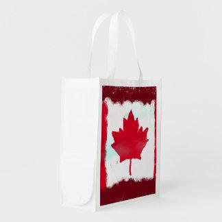 Künstlerische kanadische Flagge Wiederverwendbare Einkaufstaschen