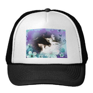künstlerische Katze, die im Blumen-Foto sich Mütze