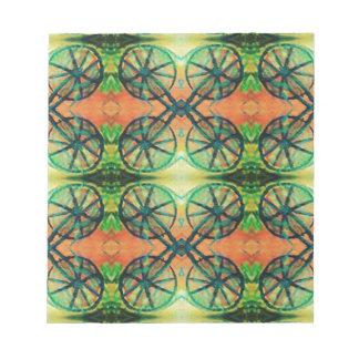 Künstlerische moderne orange grüne Vintage Notizblock