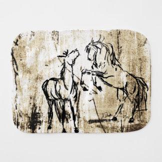 Künstlerische Pferdekopf-Skizze Baby Spucktuch