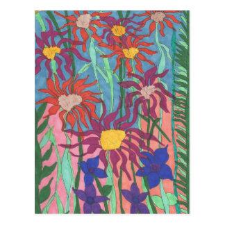 Künstlerische Postkarten-üppiger Garten-Federkunst Postkarte