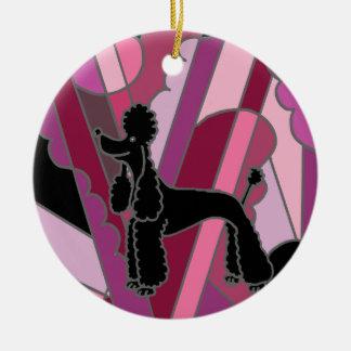 Künstlerische schwarze Pudel-Hundeabstrakte Kunst Keramik Ornament