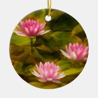 Künstlerische Wasserlilien, Kalifornien Rundes Keramik Ornament