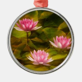 Künstlerische Wasserlilien, Kalifornien Rundes Silberfarbenes Ornament