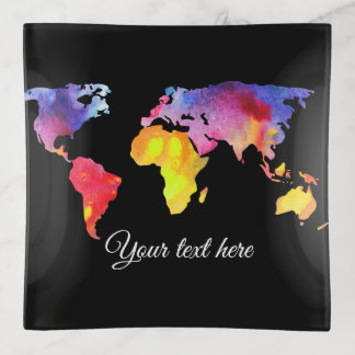 Künstlerische Weltkarte mit Ihrem Dekoschale