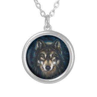 Künstlerische Wolf-Gesichts-Halskette Versilberte Kette