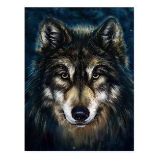 Künstlerische Wolf-Gesichts-Postkarte