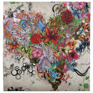 Künstlerischer Blumenherz-Valentinsgruß Serviette