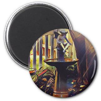 Künstlerischer Engel des hellen Birdbath Runder Magnet 5,1 Cm