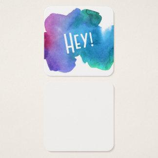 """Künstlerischer mehrfarbiger Watercolor mit """"he!"""" Quadratische Visitenkarte"""