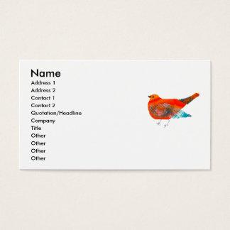 Künstlerischer Natur-Entwurf mit rotem Vogel Visitenkarte