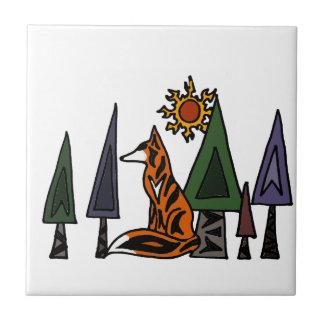 Künstlerischer roter Fox in der Waldkunst Kleine Quadratische Fliese