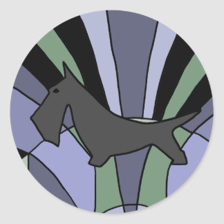 Künstlerischer schottischer Terrier-Kunst-Deko Runder Aufkleber