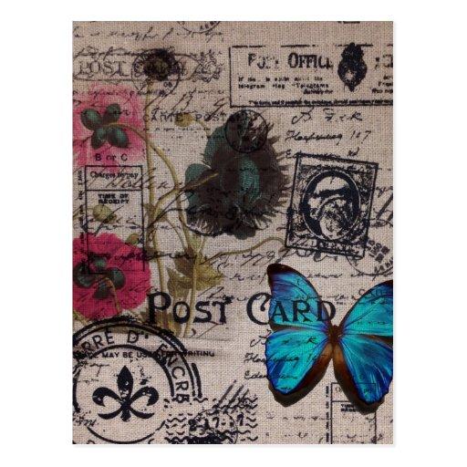 künstlerischer Vintager Blumenpoststempel Postkarte