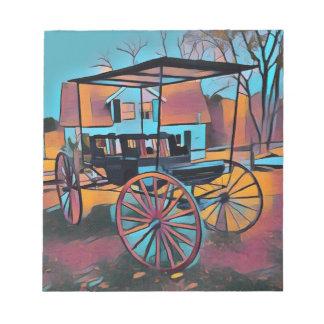 Künstlerischer Wagen vor Bauernhaus Notizblock