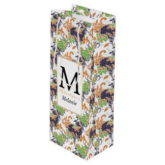 Künstlerisches Blumenrebebatikmuster Geschenktüte Für Weinflaschen