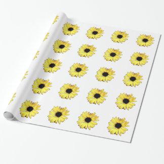 Künstlerisches gelbes Gerbera-Gänseblümchen Geschenkpapier