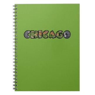 Künstlerisches grünes Chicago-Logo-Notizbuch Notizblock