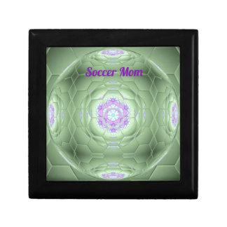 Künstlerisches grünes Fußball-Mamma-Hexagon-Muster Erinnerungskiste