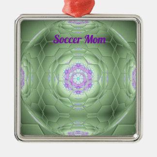 Künstlerisches grünes Fußball-Mamma-Hexagon-Muster Quadratisches Silberfarbenes Ornament
