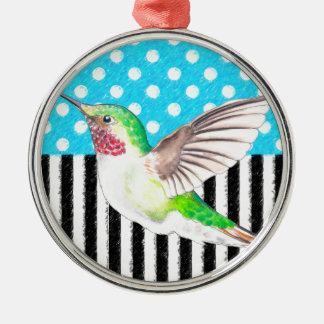 Künstlerisches Kolibri-Blau Silbernes Ornament