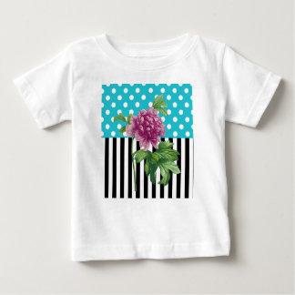 Künstlerisches Pfingstrosen-Blau Baby T-shirt