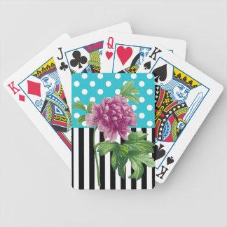 Künstlerisches Pfingstrosen-Blau Bicycle Spielkarten