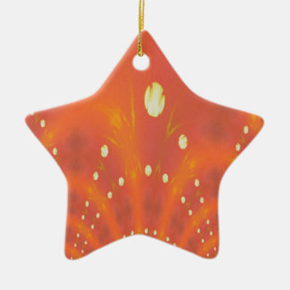 Künstlerisches Pfirsich-Gelb sonnt Traumwelten Keramik Stern-Ornament