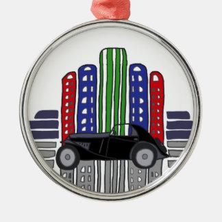 Künstlerisches Retro Auto und Gebäude Silbernes Ornament