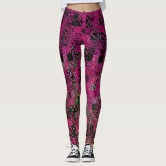 Künstlerisches rosa Mosaik-abstraktes Muster Leggings