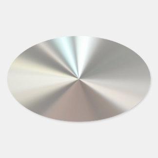 Künstlerisches silbernes Metall Ovaler Aufkleber