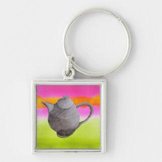 Künstlerisches Tee-Party der Regenbogen-Teekanne Schlüsselanhänger
