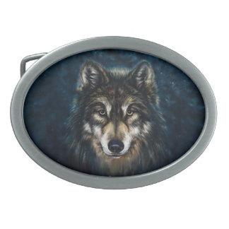 Künstlerisches Wolf-Gesichts-ovale Gürtelschnalle
