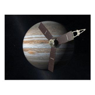 Künstlerwiedergabe von JUNO Orbiter bei Jupiter Postkarte
