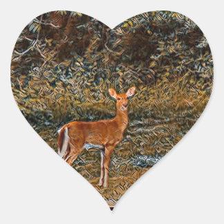 Kunstvolle Rotwild Herz-Aufkleber