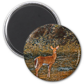 Kunstvolle Rotwild Runder Magnet 5,7 Cm