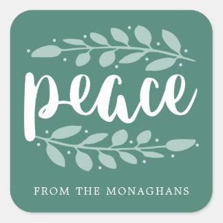Kunstvoller Friedenspersonalisierte Quadratischer Aufkleber