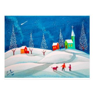 Kunstwinter-Schneevolksszene der Sternschnuppe Postkarte