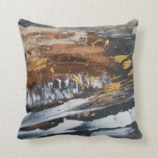Kupfer, Grau, Gold, weißes abstraktes Kunst-Kissen Kissen