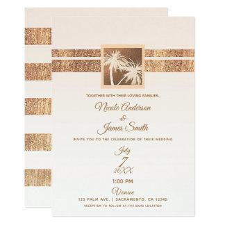 Kupfer-u. Creme-tropische Palme-moderne Hochzeit Karte
