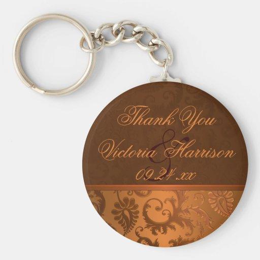 Kupfer und Brown-Damast-Gastgeschenk Hochzeit Keyc Schlüsselanhänger