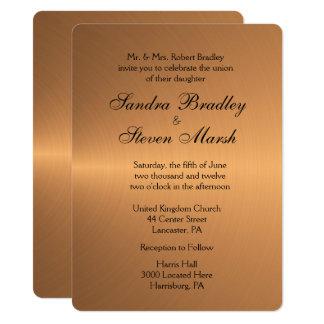 Kupferne Glanz-Hochzeits-Einladung 14 X 19,5 Cm Einladungskarte