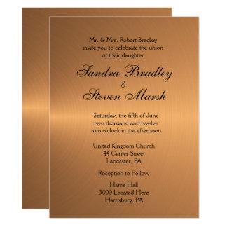 Kupferne Glanz-Hochzeits-Einladung 16,5 X 22,2 Cm Einladungskarte