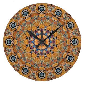 Kupferne Patina-Mandala 0158-4 Große Wanduhr
