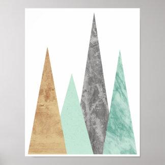 Kupferne und tadellose Berge. Skandinavisches Poster