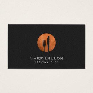 Kupferner Gabel-und Messer-schwarzer Catering Visitenkarte