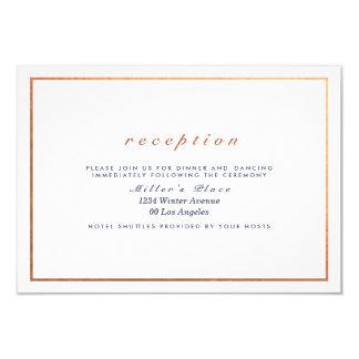 Kupferner Rahmen auf dem weißen Hochzeits-Empfang 8,9 X 12,7 Cm Einladungskarte