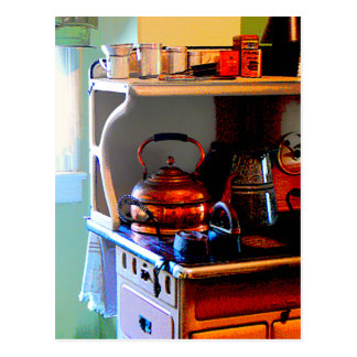 Kupferner Tee-Kessel auf Ofen Postkarte